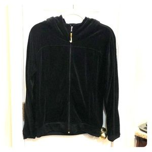 Black, velour,  Juicy Couture hooded jacket.